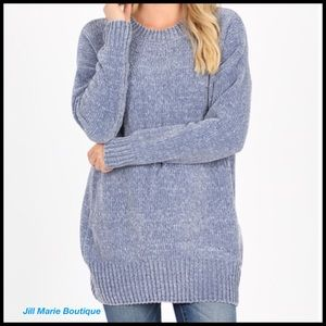 Oversized chenille sweater frost blue M, L, XL